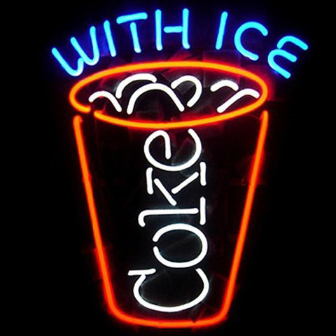 Coca Cola Coke With Ice Beer Bar Neon Light Sign