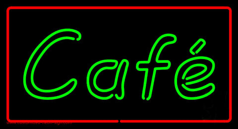 Cafe Rectangle Red Neon Sign