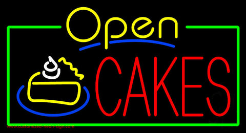 Cakes Open with Green Border  Neon Sign