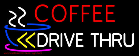 Coffee Drive Thru With Yellow Arrow Neon Sign