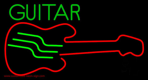 Blue Guitar 5 Neon Sign
