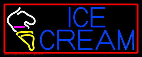 Blue Ice Cream With Red Boder Cone Neon Sign
