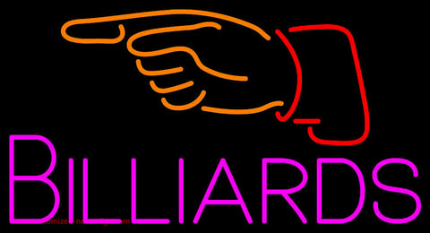 Billiards With Hand Logo 1 Neon Sign