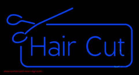 Blue Haircut With Scissor Neon Sign