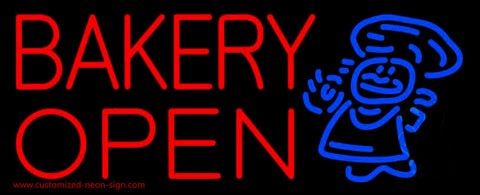 Bakery Open With Man Neon Sign