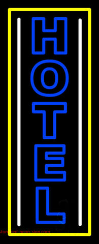 Vertical Blue Double Stroke Hotel 1 Neon Sign