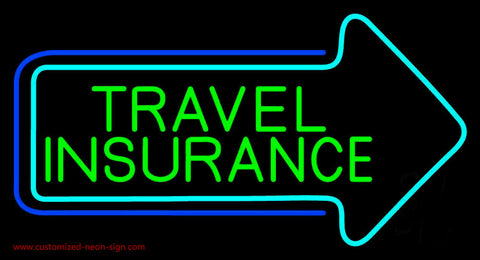 Green Travel Insurance With Arrow Neon Sign