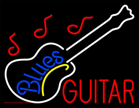 Blue Blues Red Guitar Neon Sign