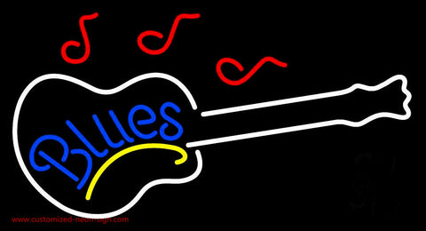 Blue Blues With Guitar Neon Sign