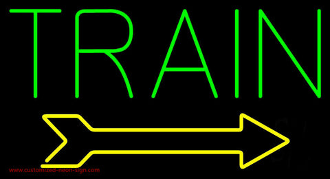 Green Train With Arrow Neon Sign