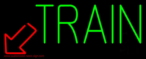 Green Train With Red Arrow Neon Sign