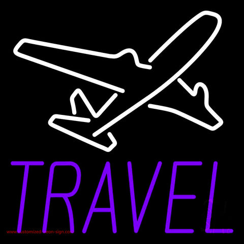 Purple Travel With Logo Neon Sign