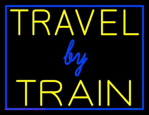 Travel By Train With Border Neon Sign