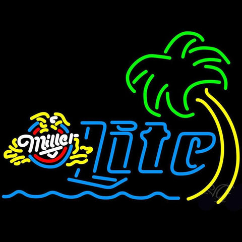 Miller Lite Eagle Palm Tree With Wave Neon Beer Sign