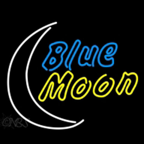 blue moon yellow beer sign