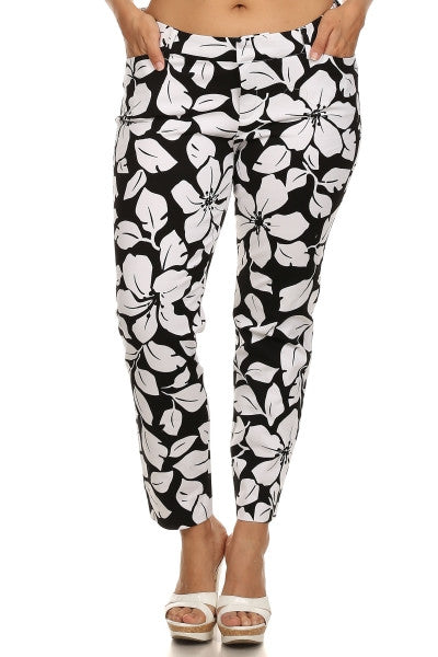 Plus Size Summer Print Pants