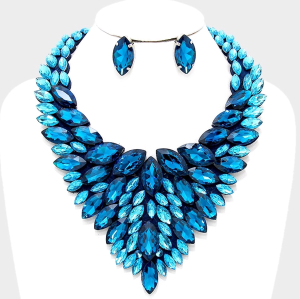 Crystal Marquise Bib Necklace