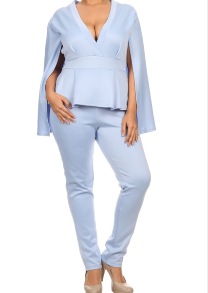 One Piece Peplum Jumpsuit Plus Size