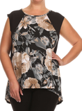 Floral Print Top Plus Size