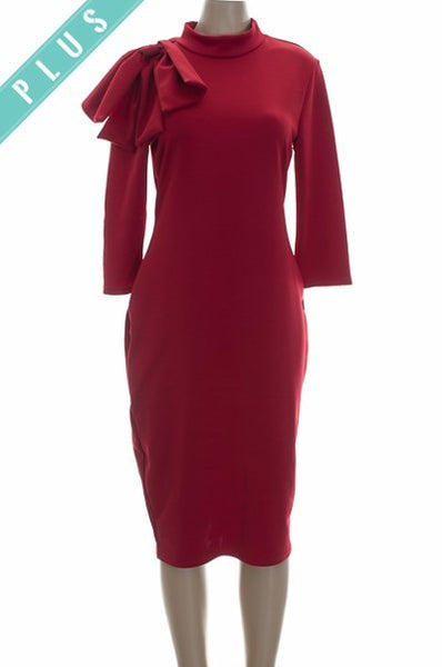 Dress With Neck Bow- Plus Size