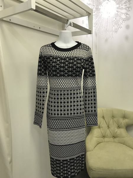Multi-Print Sweater Dress