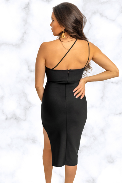 Maria One Shoulder Slit Bodycon Dress