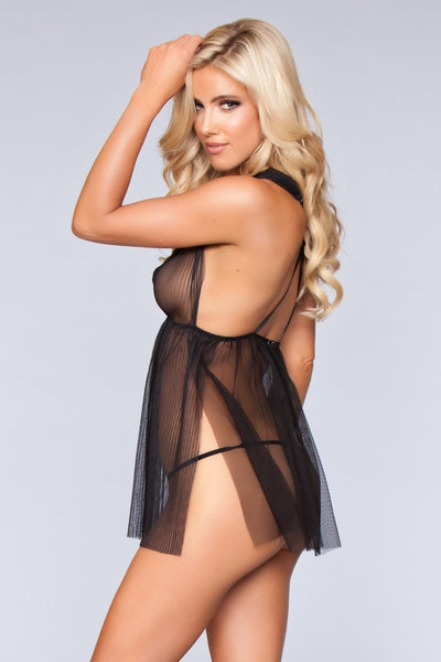 Eleanor Deep V Babydoll- Black