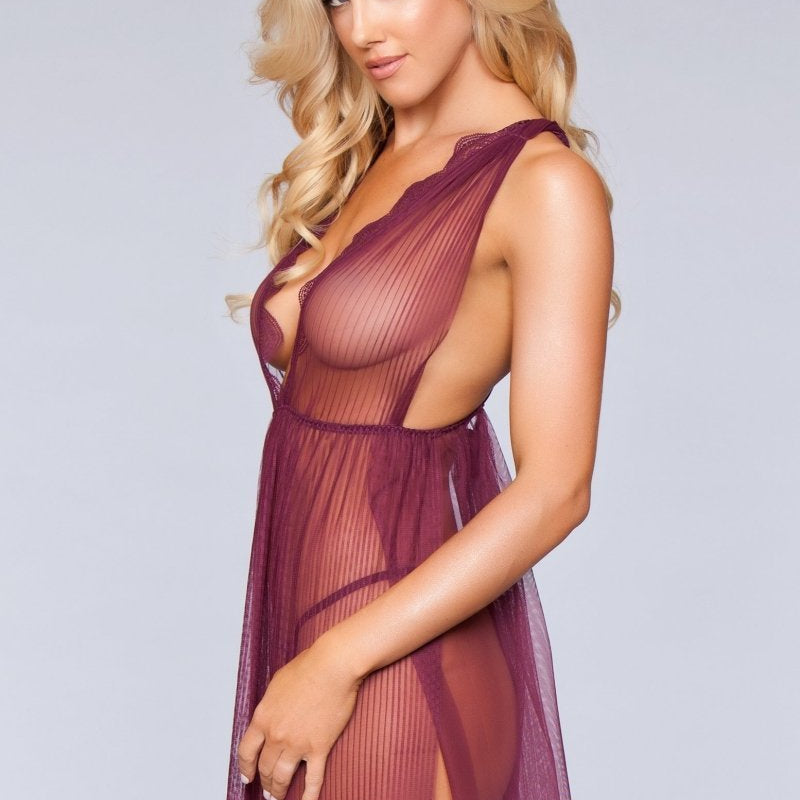 Eleanor Deep V Babydoll- Burgundy