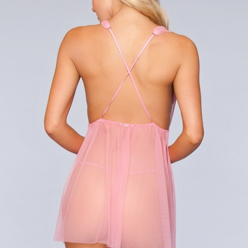 Eleanor Deep V Babydoll- Pink