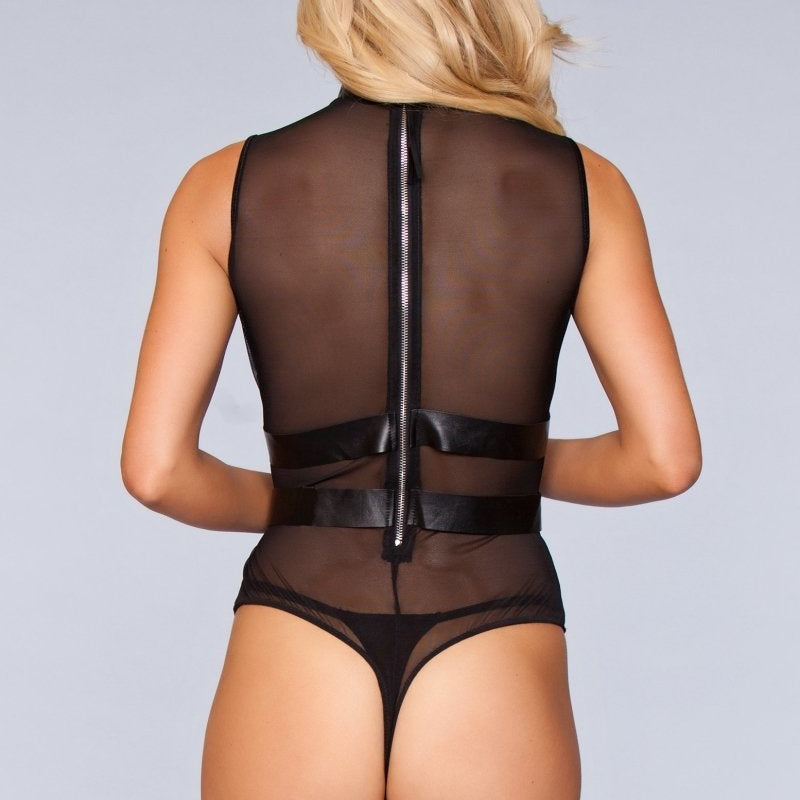 Ariana Halter Faux-Leather Bodysuit