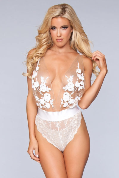 Aurora Mesh High Leg Teddy- White