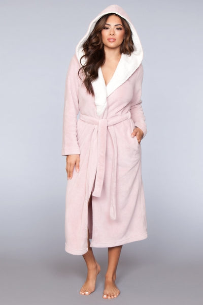 Olivia Long Plush Robe- Pink
