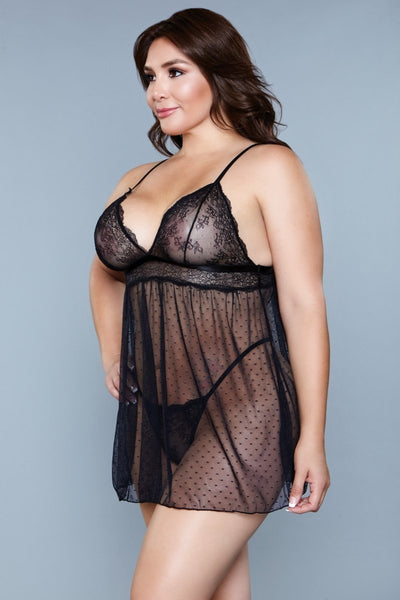 Hailey Mesh Babydoll- Black
