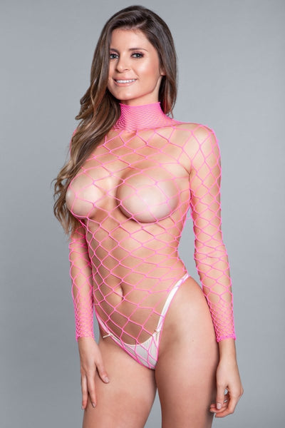 Mia Backless Body Stocking- Hot Pink