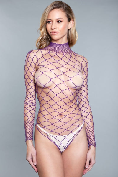 Mia Backless Body Stocking- Purple