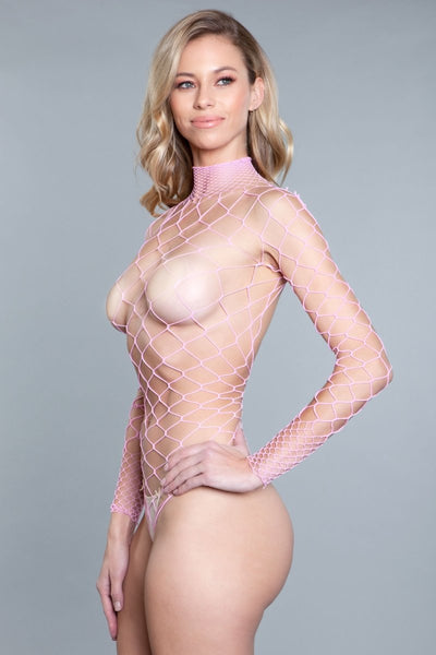 Mia Backless Body Stocking- Pink