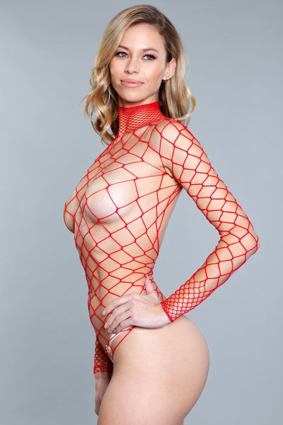 Mia Backless Body Stocking- Red