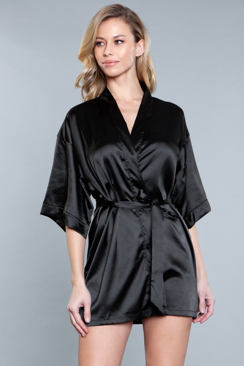 Delaney Short Robe- Black