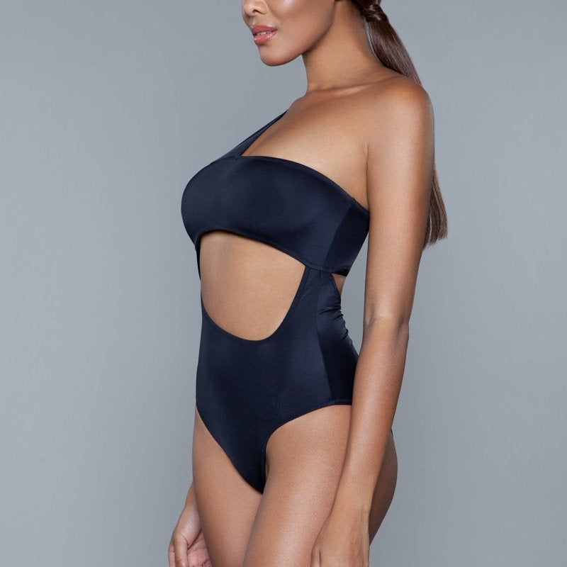 Kennedy One Shoulder Hollowed Swimsuit- Black