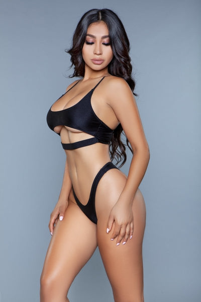 Gianna Strappy Crop Bikini Set - Black