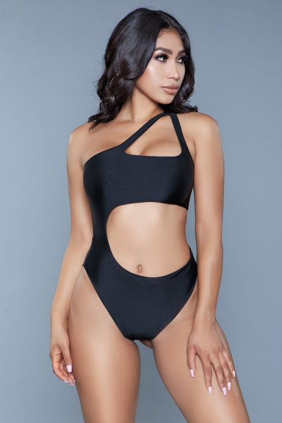 Quinn One Shoulder Hollowed Out Swimsuit- Black