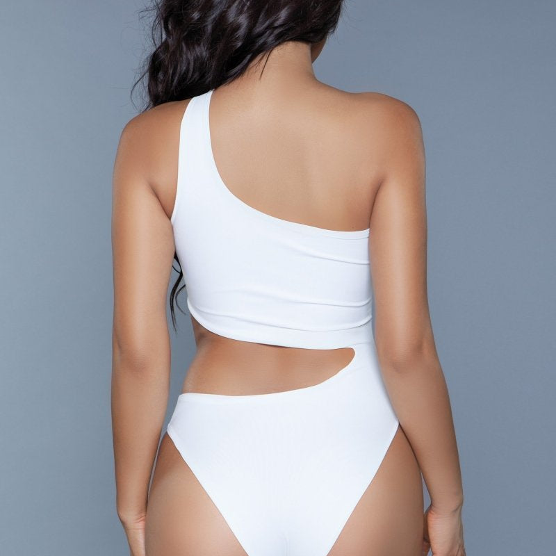 Quinn One Shoulder Hollowed Out Swimsuit- White