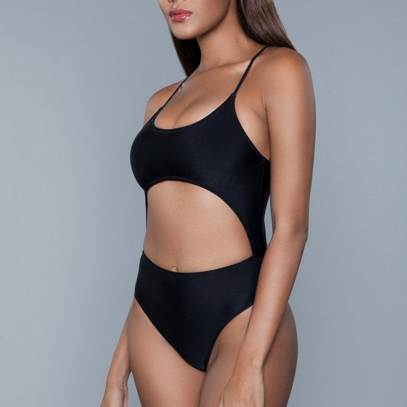 Alina Hollowed Out Swimsuit- Black