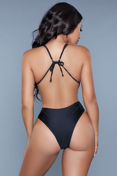 Trinity High Cut Backless Swimsuit- Black