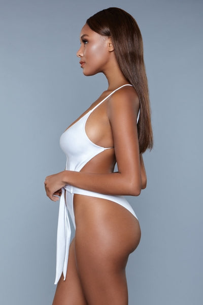 Trinity High Cut Backless Swimsuit- White