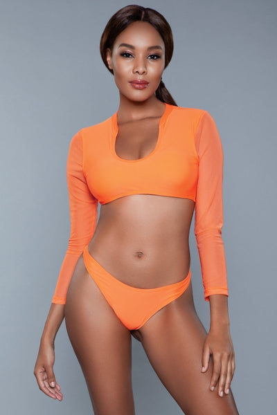 Carli Mesh Crop Bikini Set- Orange