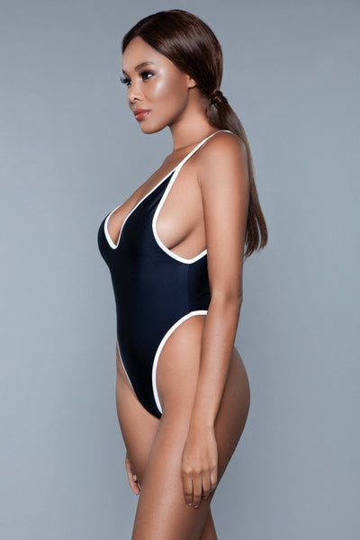 Payton High Cut One Piece Swimsuit- Black