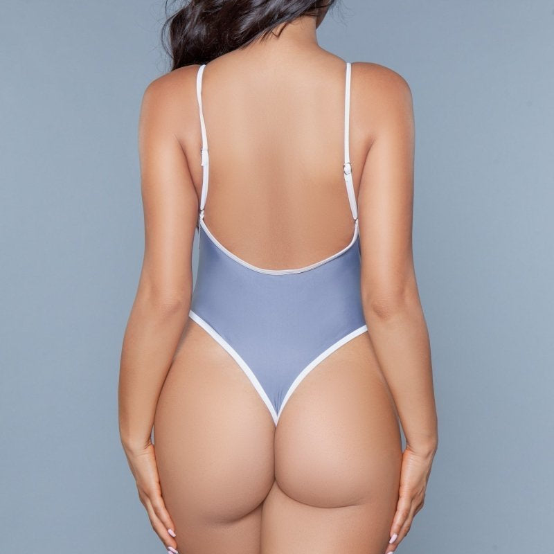 Payton High Cut One Piece Swimsuit- Grey