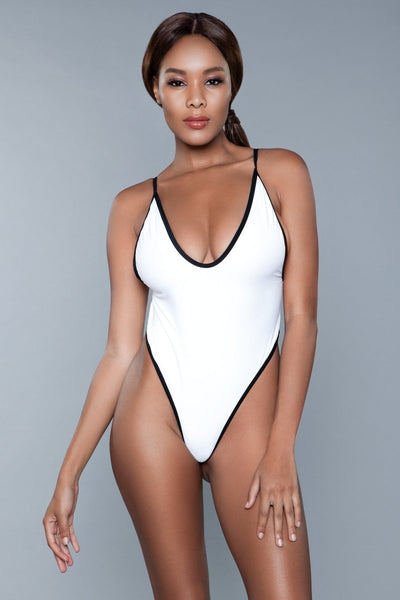 Payton High Cut One Piece Swimsuit- White