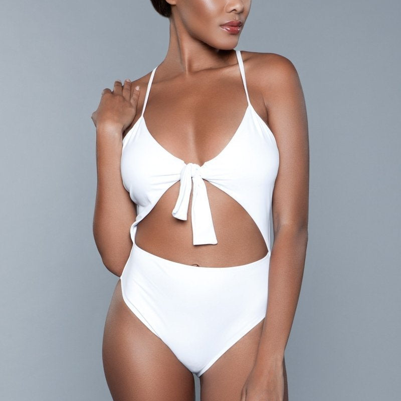 Delaney Front Tie One Piece Swimsuit- White